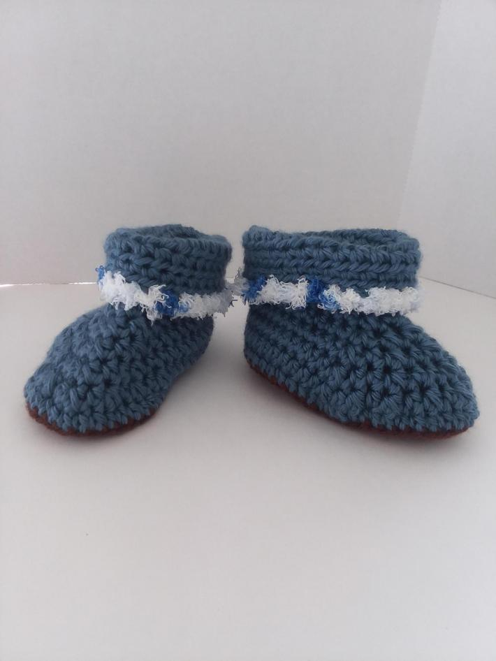 Blue Cuffed Baby Boots
