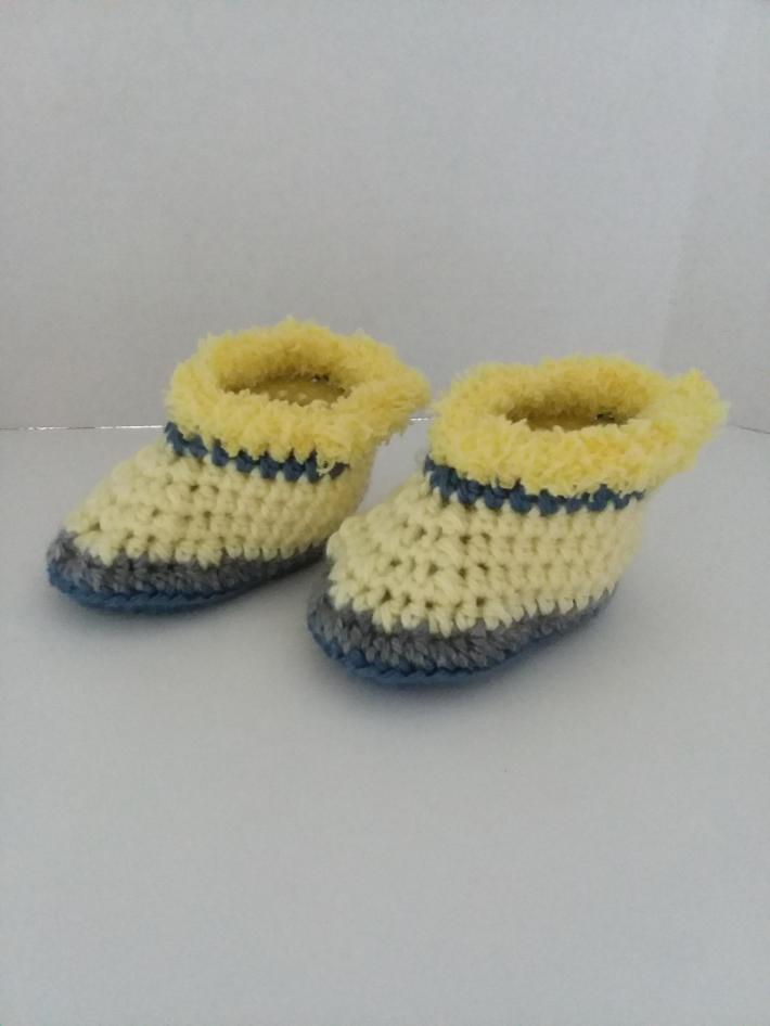 Yellow Blue and Gray Baby Booties