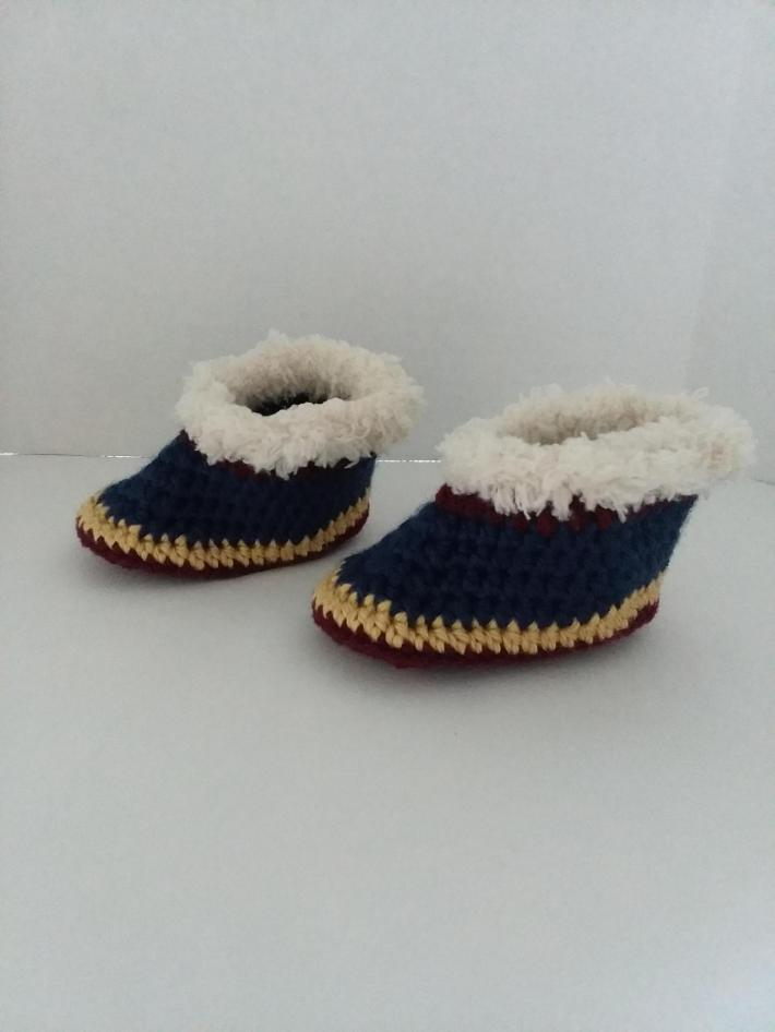 Burgundy Gold and Blue Baby Booties