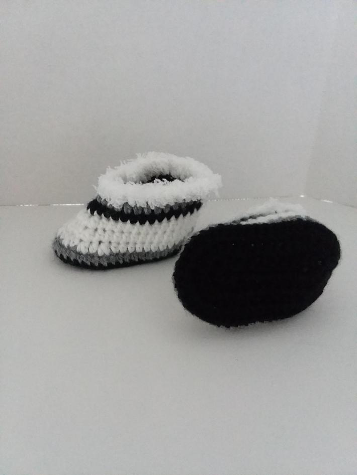 White Gray and Black Baby Booties