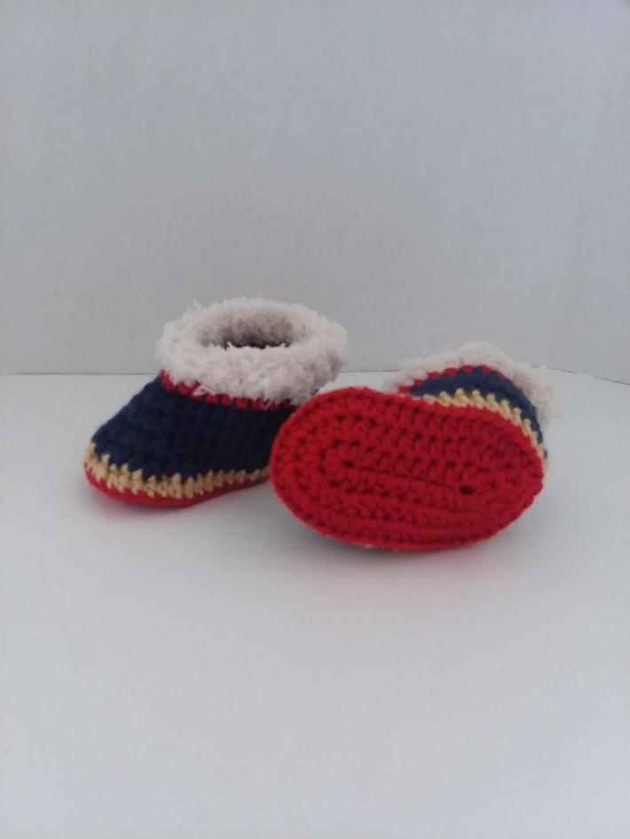 Red Blue and Gold Baby Booties