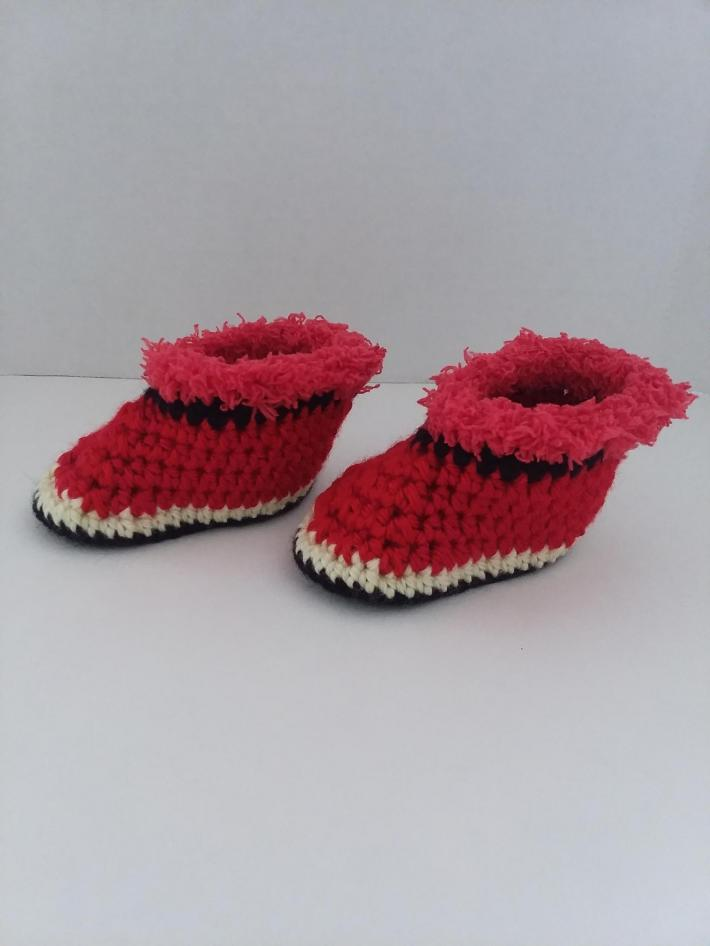 Red Black and Yellow Baby Booties