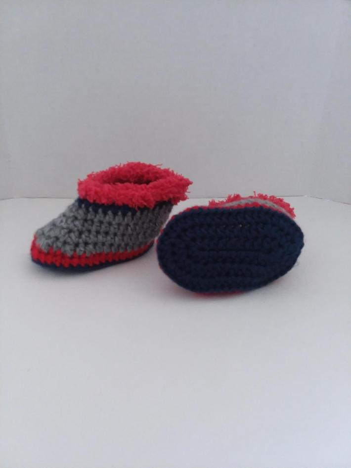 Red Blue and Gray Baby Booties