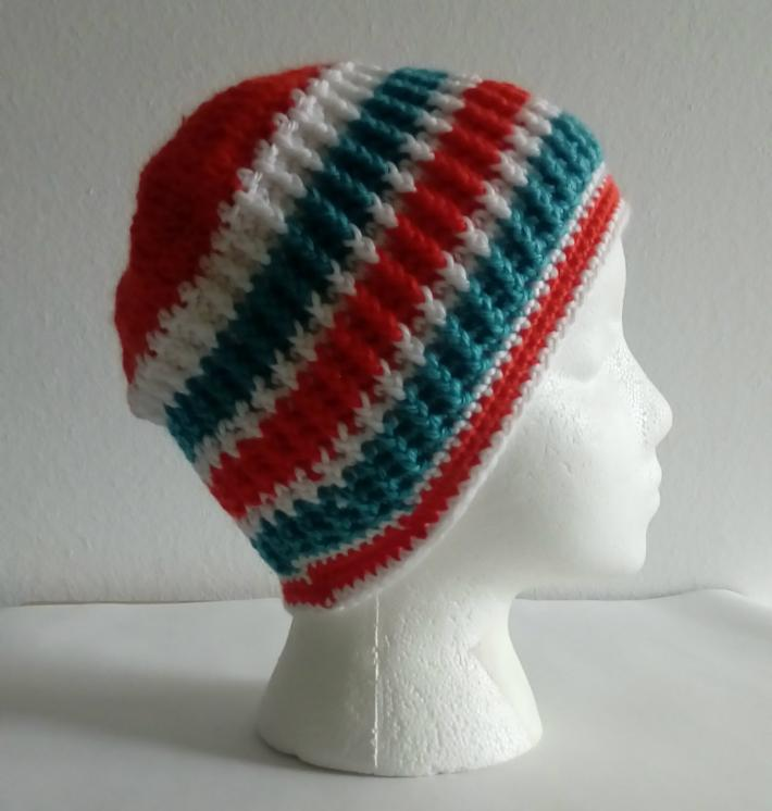 Teal Orange White Snug Beanie