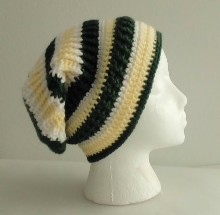 Yellow Green White Slouchy Beanie