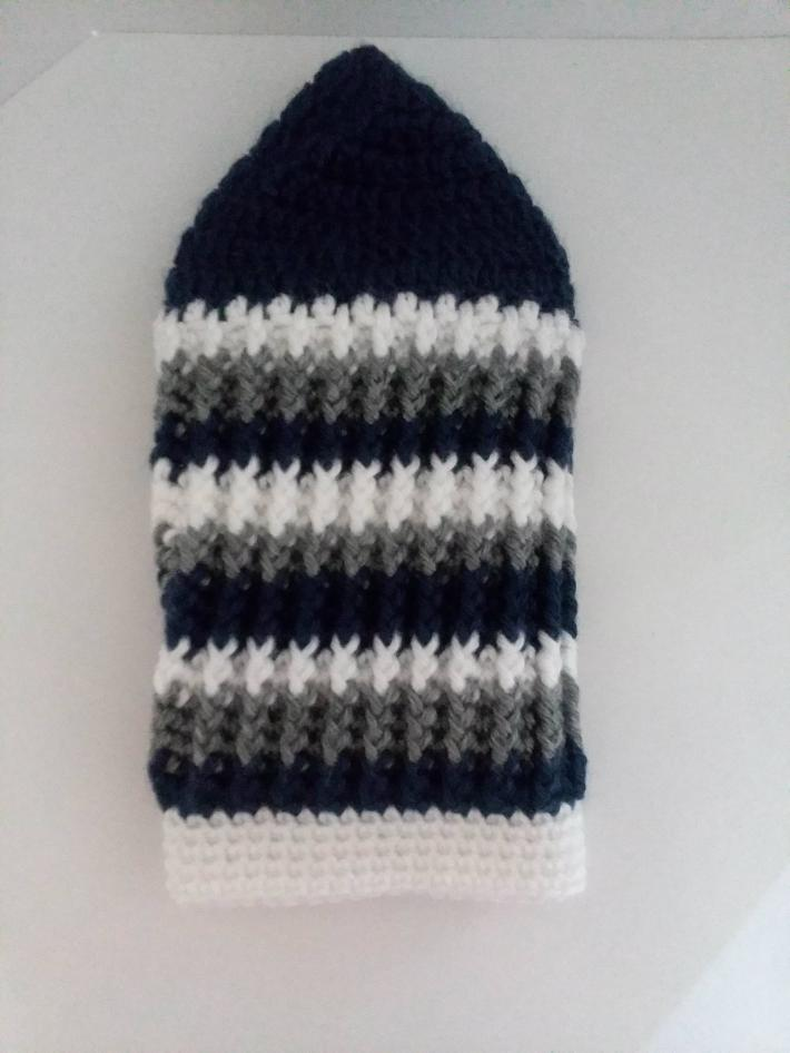 Navy White and Gray Beanie