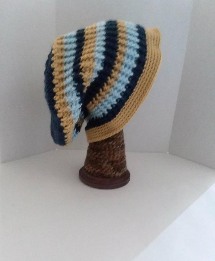 Navy Gold and Light Blue Beanie