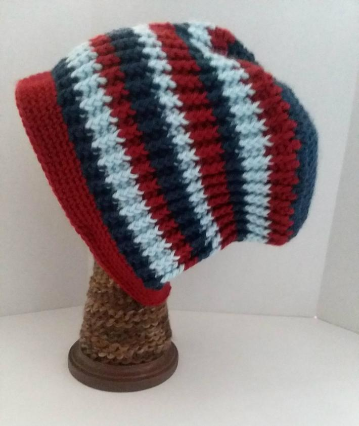 Navy Red and Light Blue Beanie