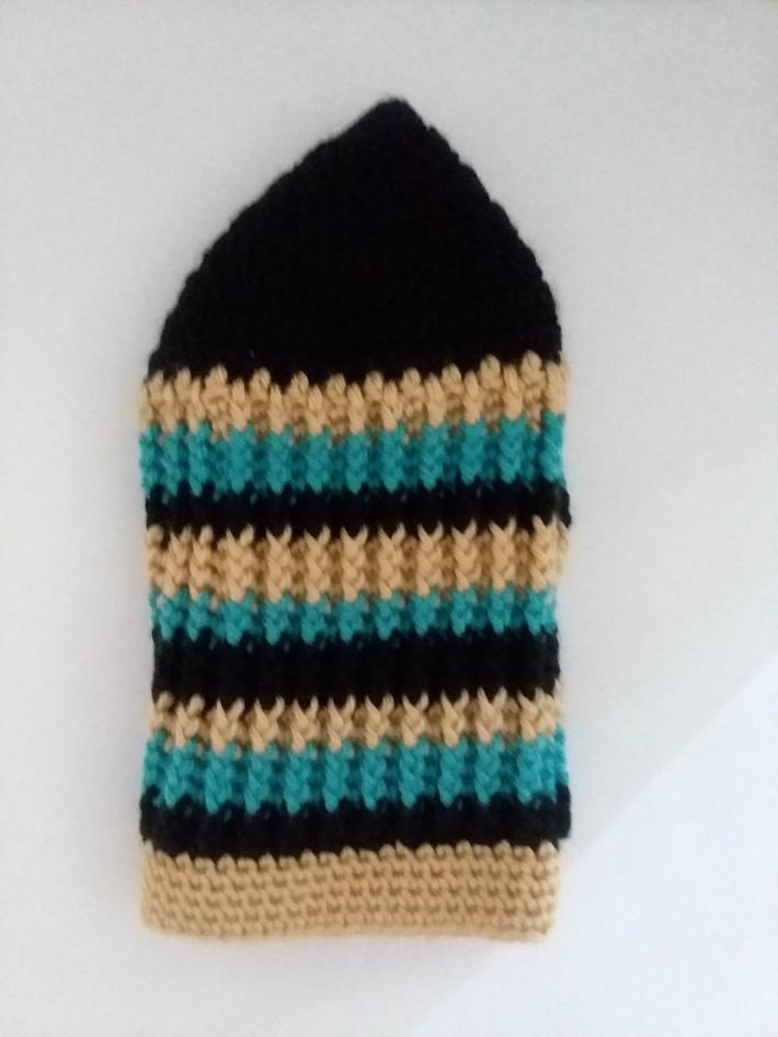 Black Gold and Teal Beanie