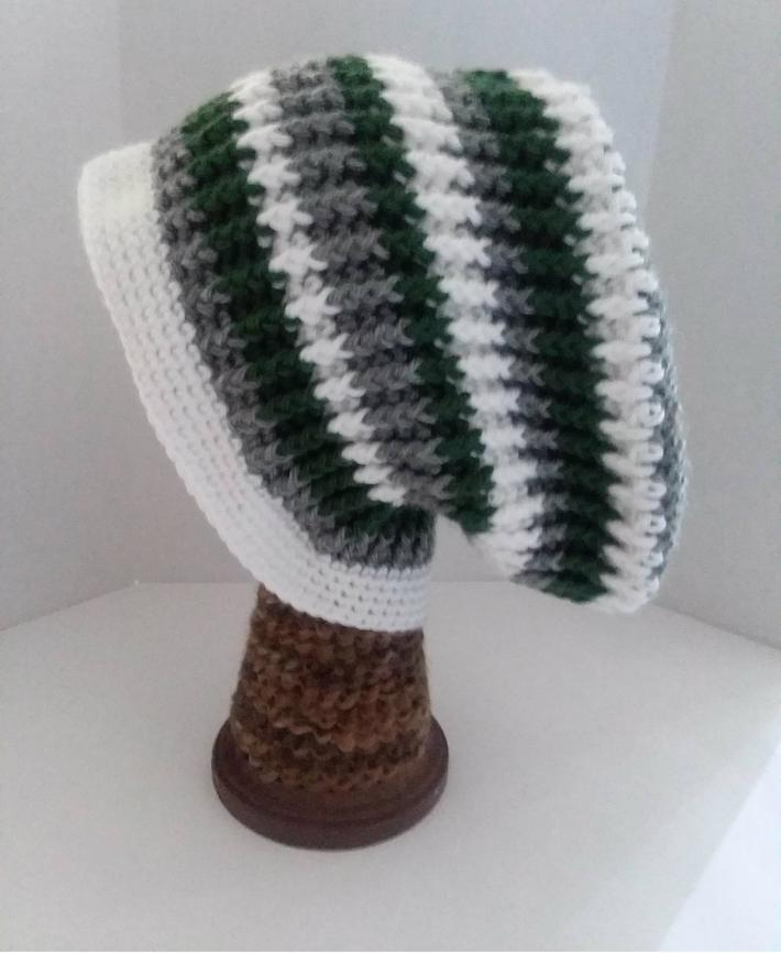 Gray White and Green Beanie