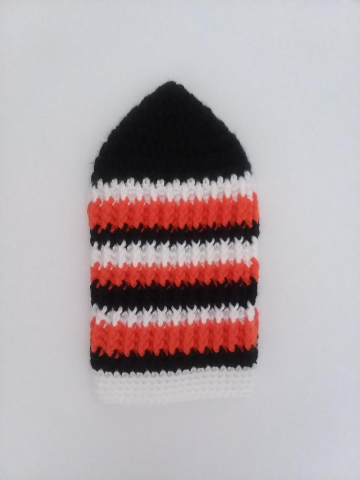 Black White and Orange Beanie
