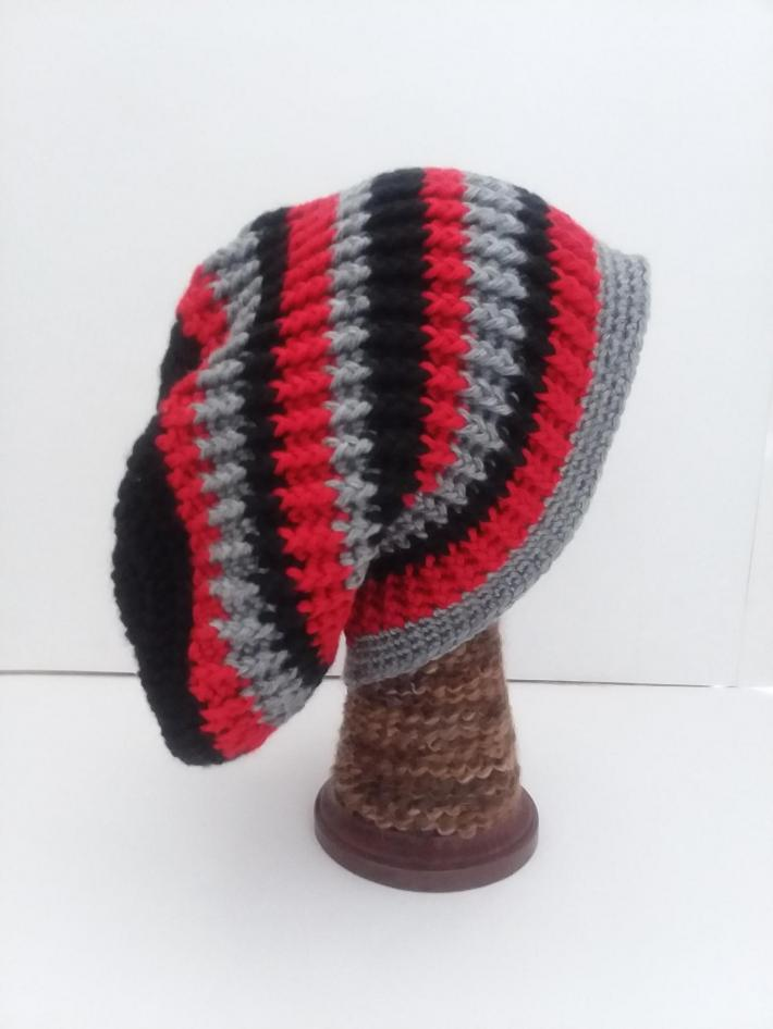 Black Red and Gray Beanie