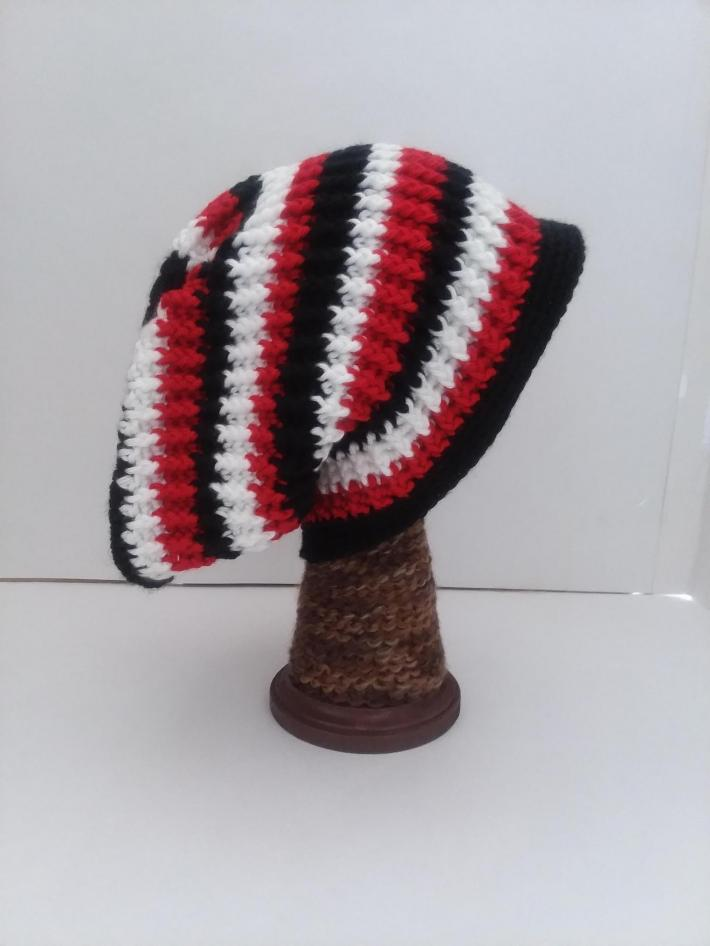 Black White and Red Beanie