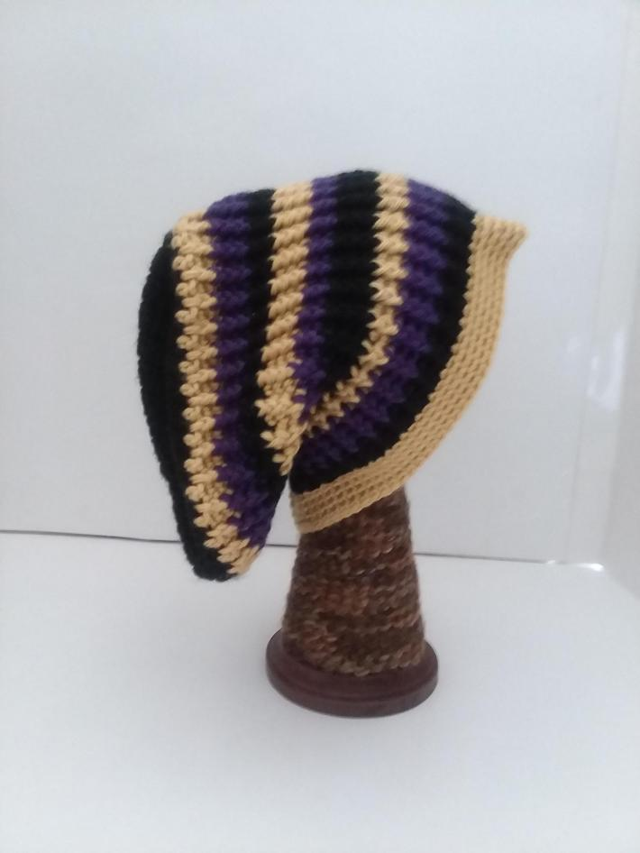 Black Gold and Purple Beanie