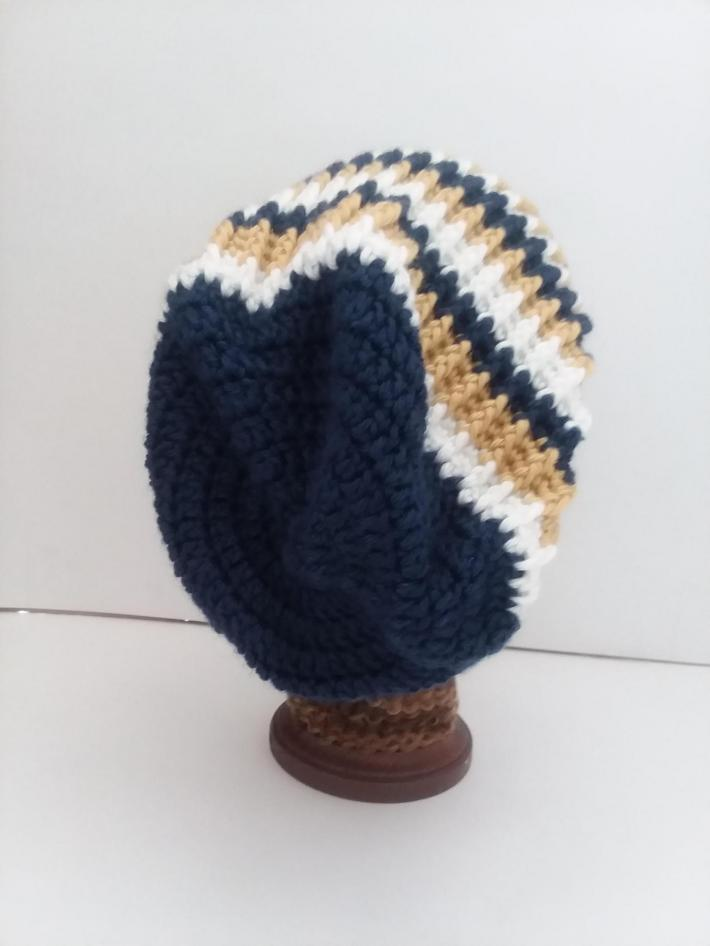 Navy White and Gold Beanie