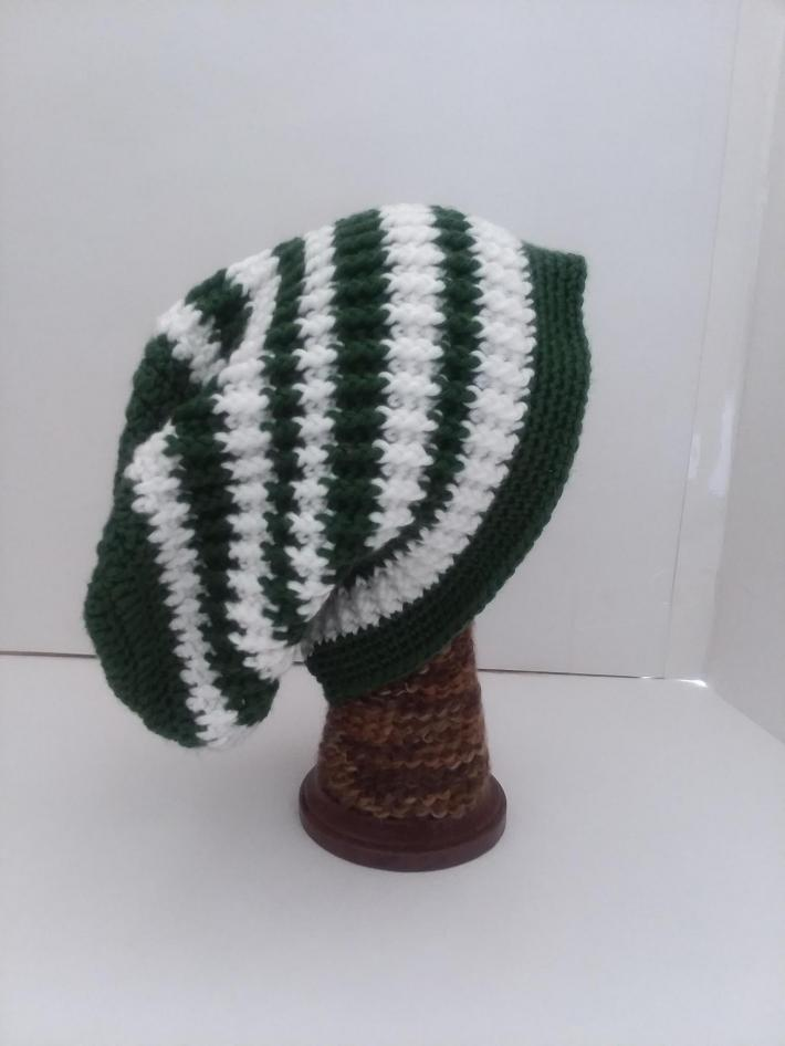 Green and White Beanie