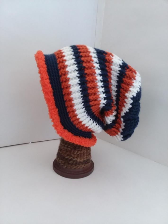 Navy White and Orange Crochet Beanie Hat with Fur