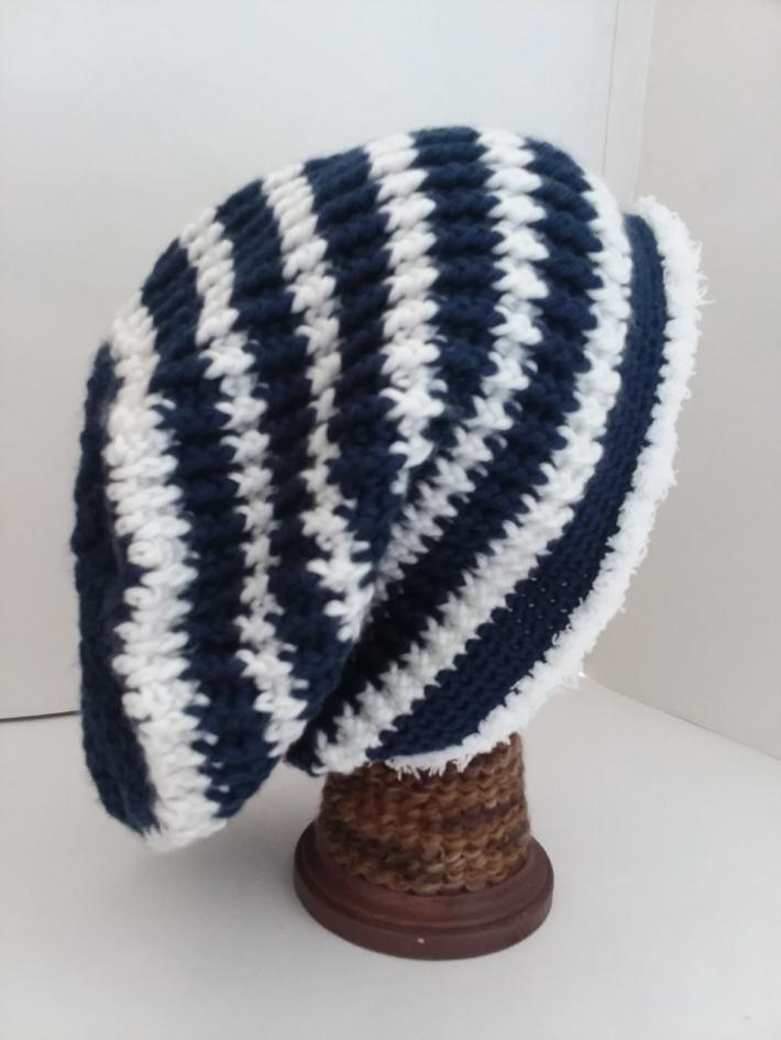 Navy and White Crochet Beanie Hat with Fur