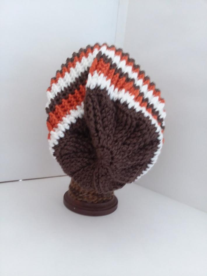 Brown Orange and White Crochet Beanie Hat with Fur