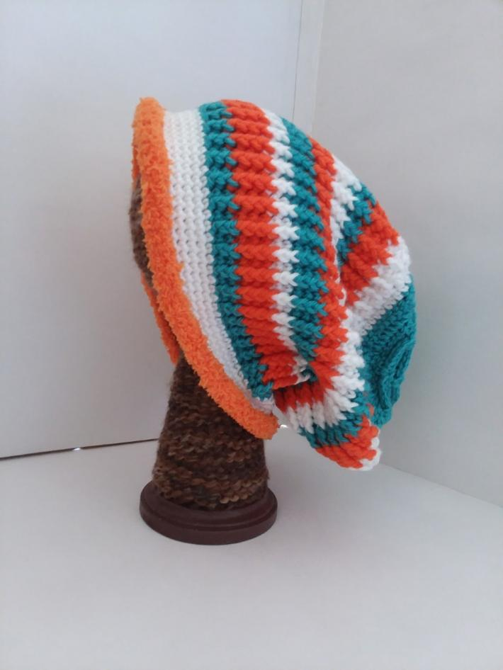 Teal White and Orange Crochet Beanie Hat with Fur