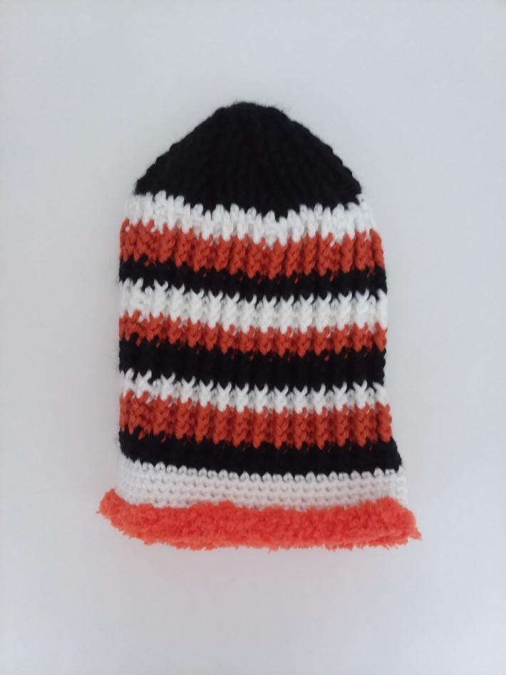 Black White and Orange Crochet Beanie Hat with Fur