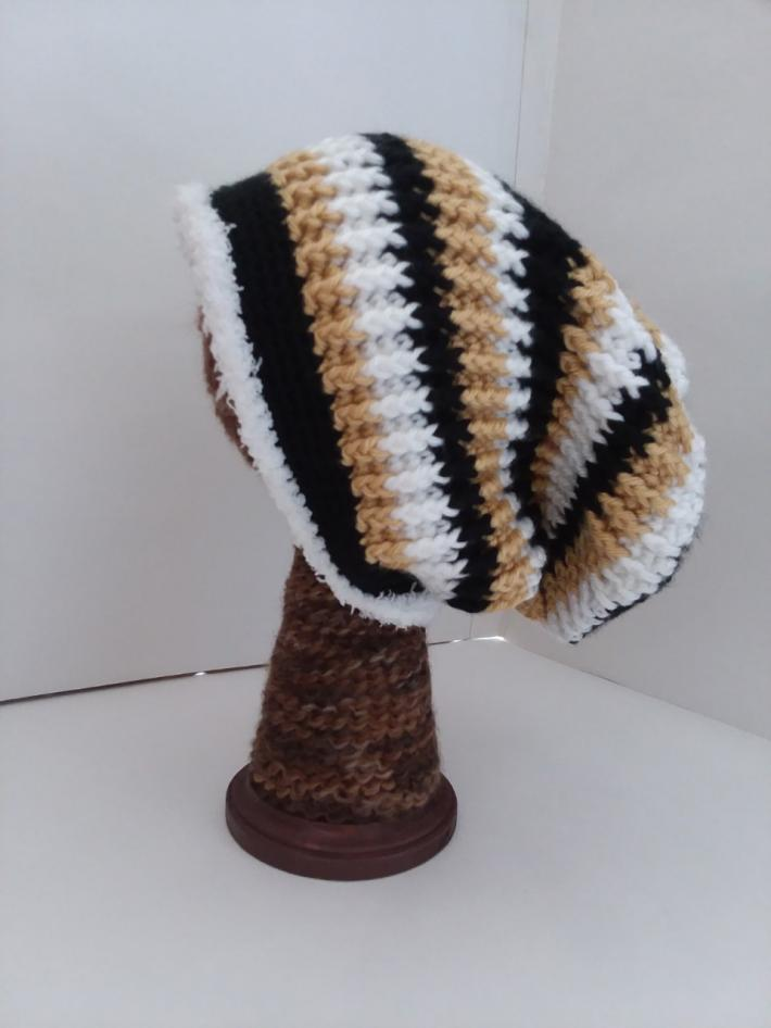Black White and Gold Crochet Beanie Hat with Fur