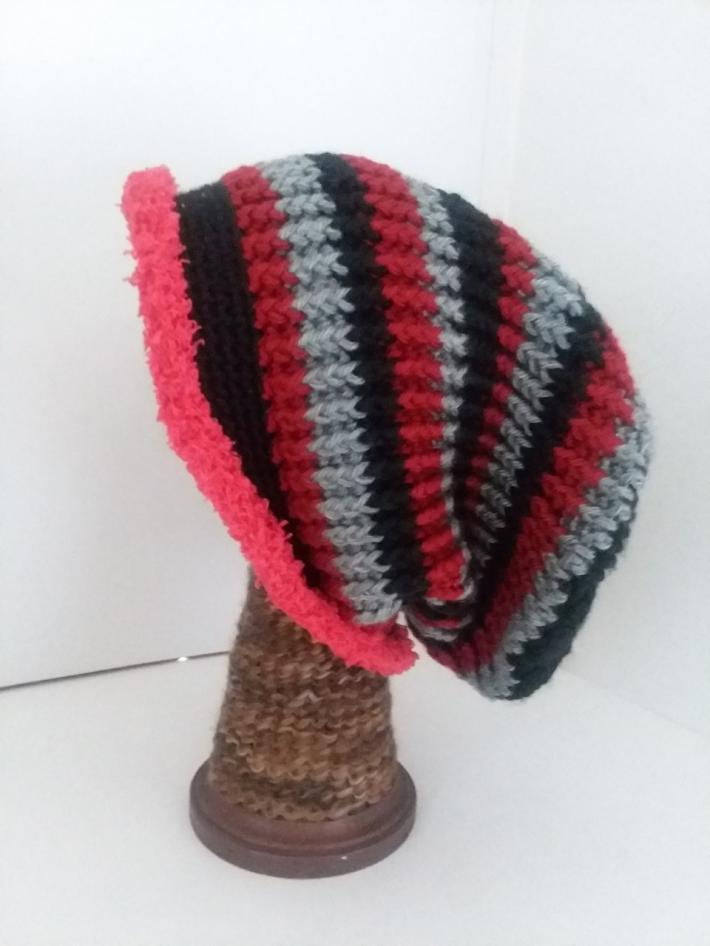 Black Gray and Red Crochet Beanie Hat with Fur