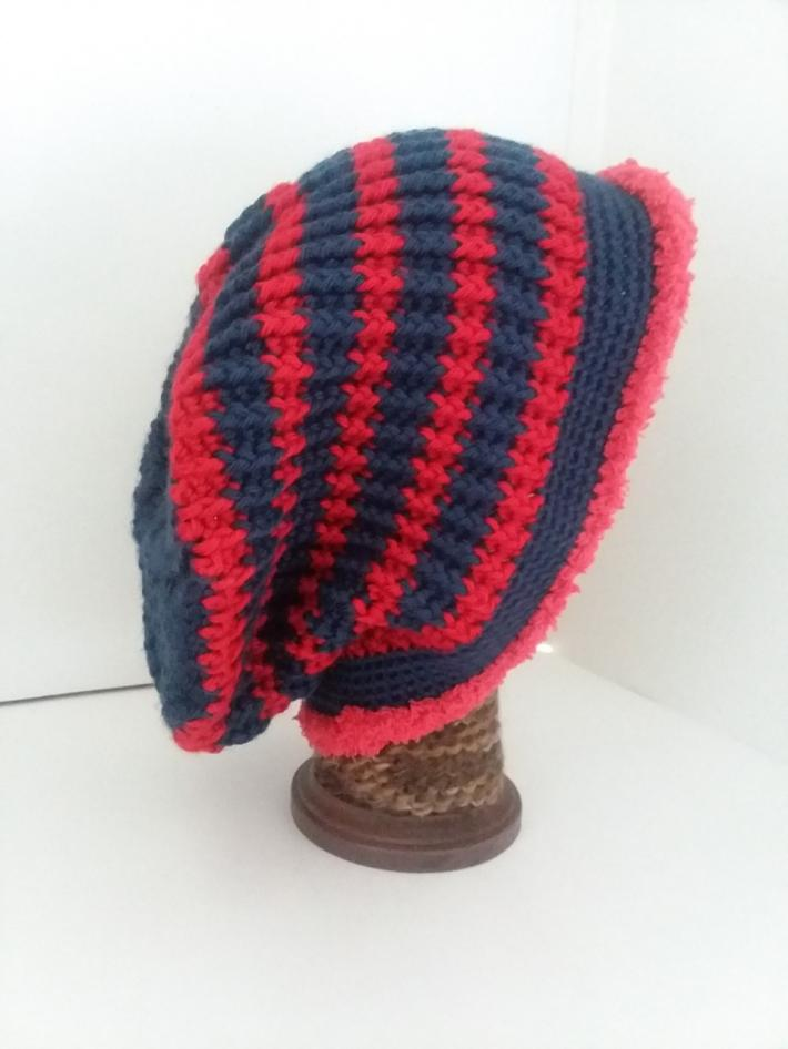 Navy and Red Crochet Beanie Hat with Fur