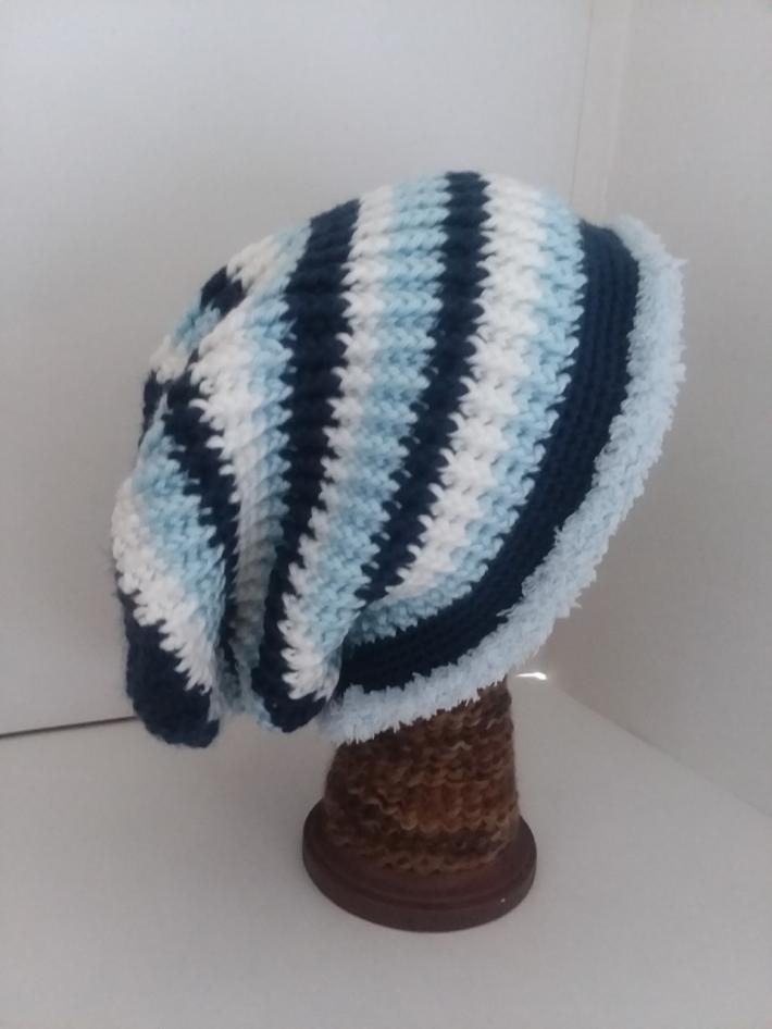 Navy White and Blue Crochet Beanie Hat with Fur