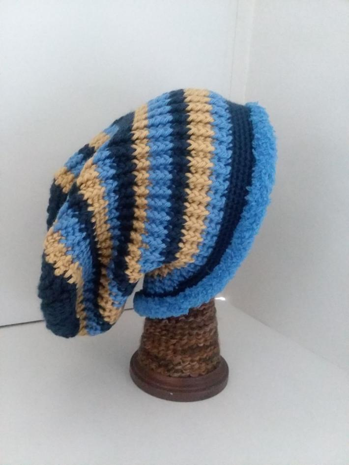 Navy Gold and Blue Crochet Beanie Hat with Fur
