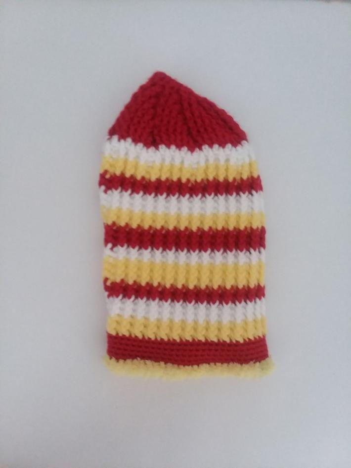 Red White and Yellow Crochet Beanie Hat with Fur