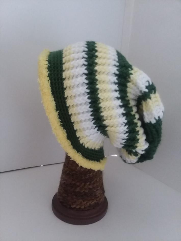 Green White and Yellow Crochet Beanie Hat with Fur