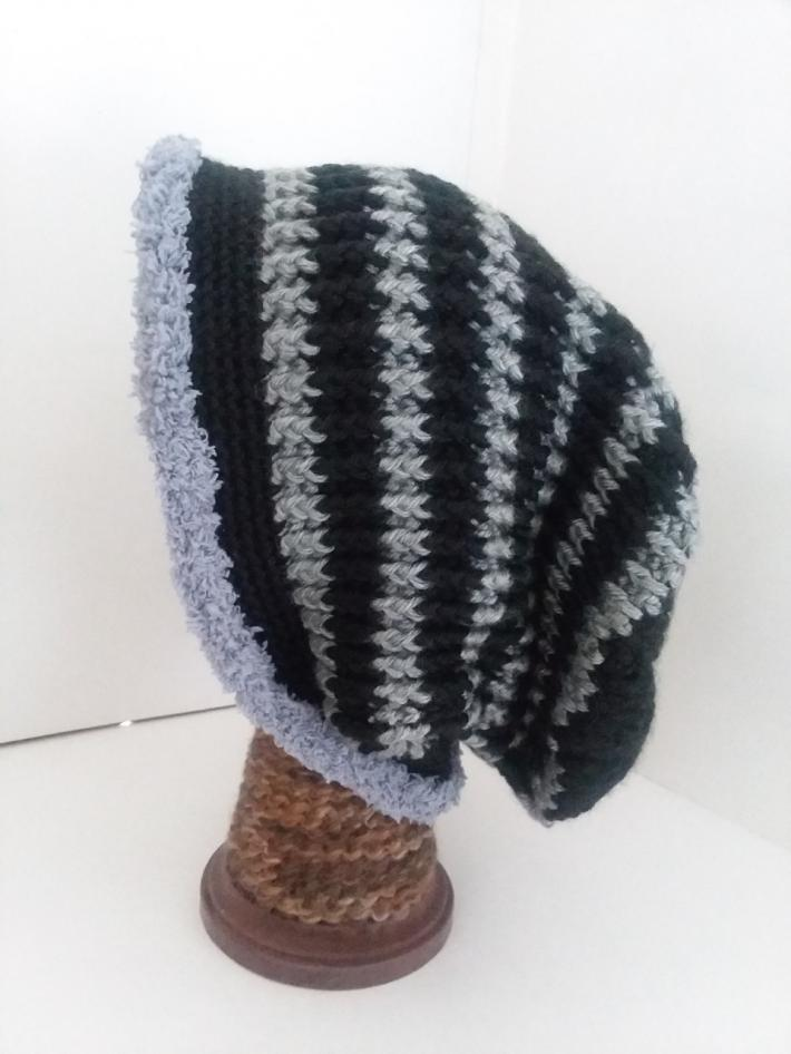 Black and Gray Crochet Beanie Hat with Fur