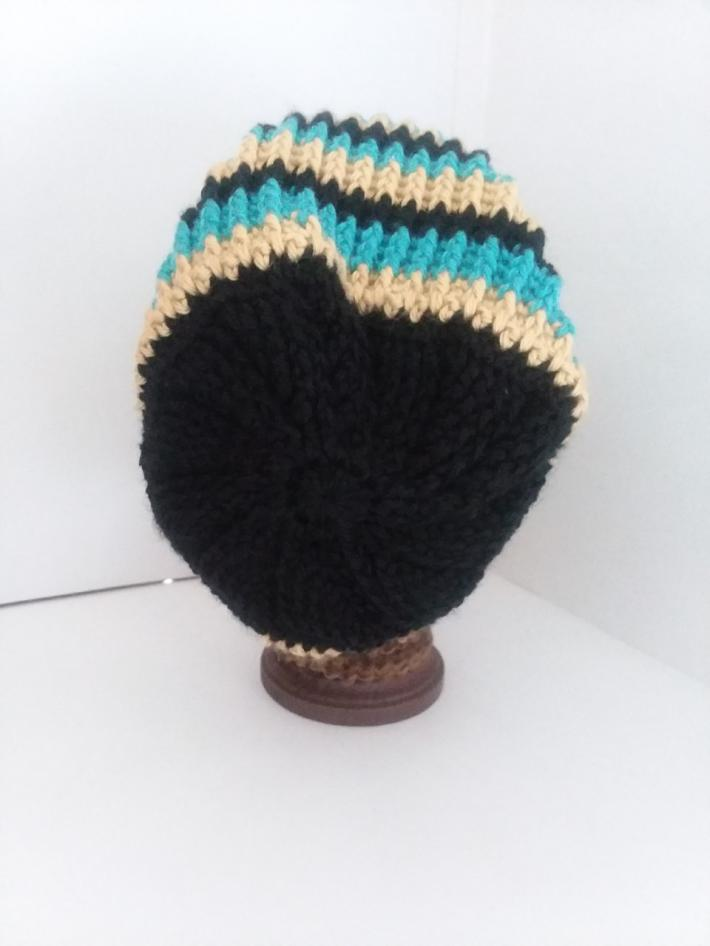 Black Gold and Teal Crochet Beanie Hat with Fur