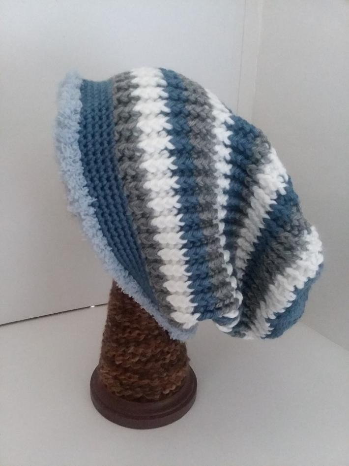Blue White and Gray Crochet Beanie Hat with Fur