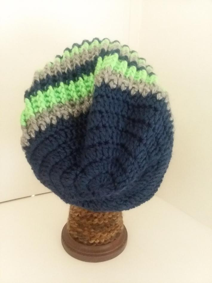 Navy Gray and Green Crochet Beanie Hat with Fur