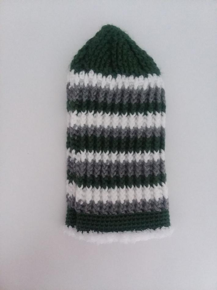Green White and Gray Crochet Beanie Hat with Fur