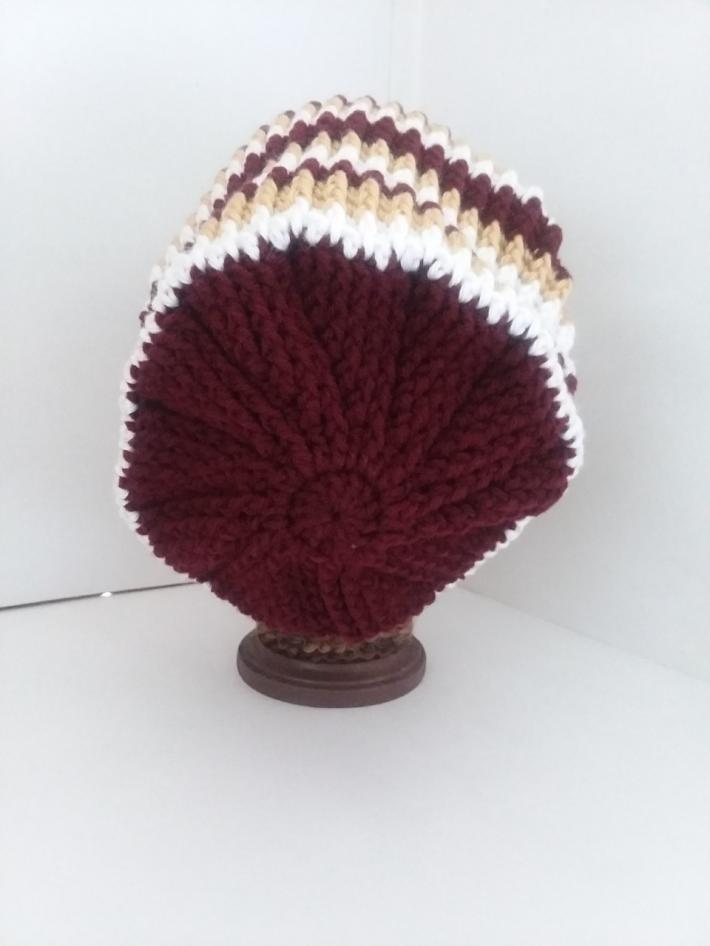 Red White and Gold Crochet Beanie Hat with Fur