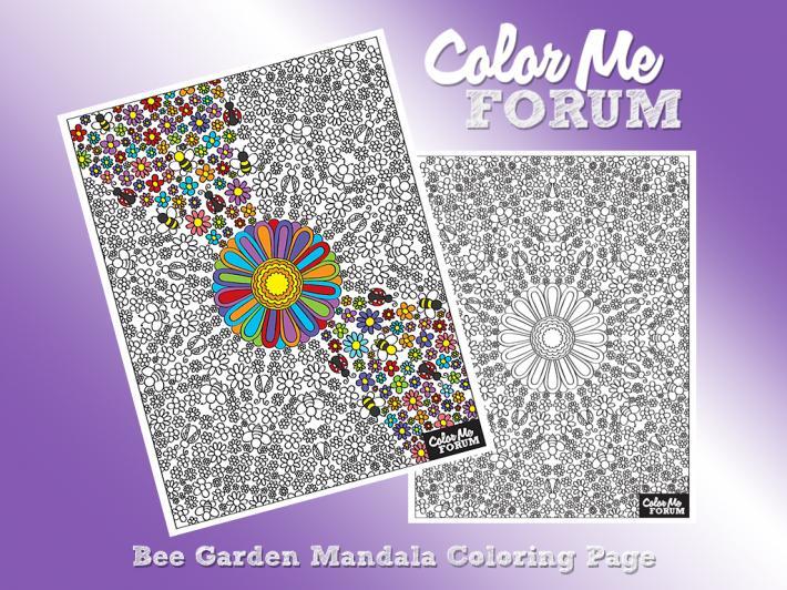 Bee Garden Mandala Coloring Page