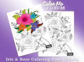 Iris Rose Coloring Page