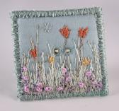 fabric square button Large covered button aqua blue Pastel spring floral flower garden silk embroidered french knots