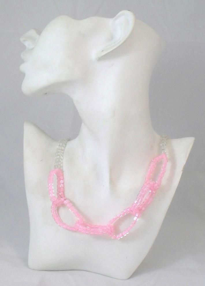 Pink Beaded Chain Link Necklace