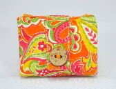 Wallet with Zipper Pouches Cotton Orange Pink Yellow Green Flower and Leaf Print
