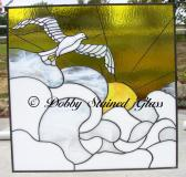 Stained Glass Panel  Dove in Sunrise