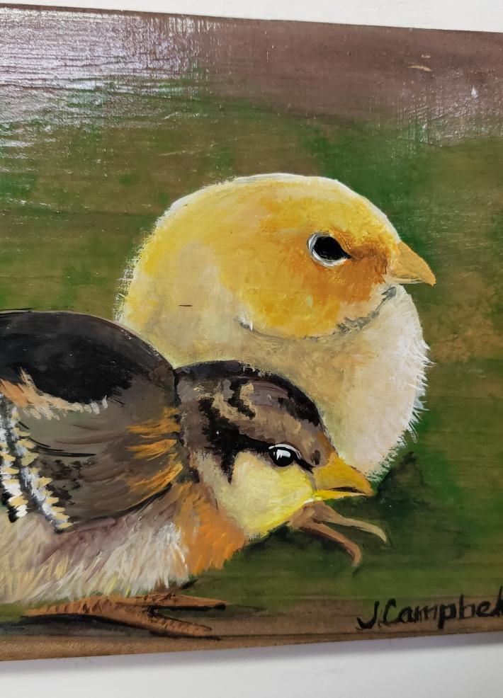 Baby Chicks on Rustic Wood Frame