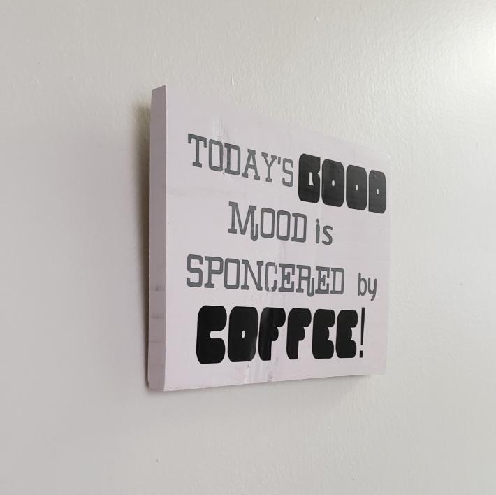 Good Mood Sign on Rustic Wood