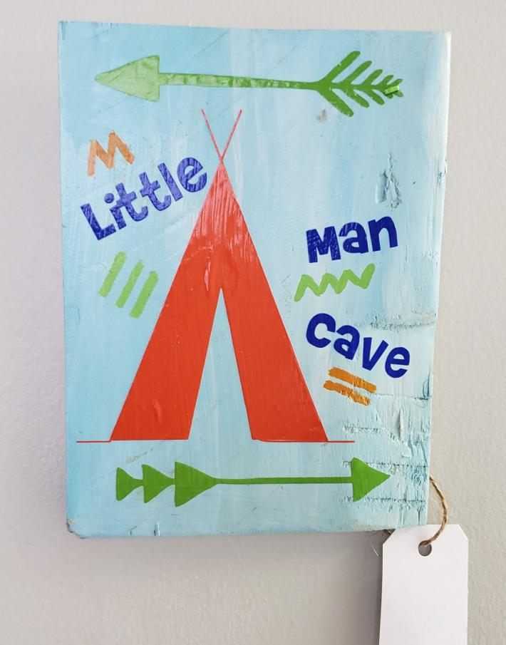 Little Man Sign on Rustic Wood