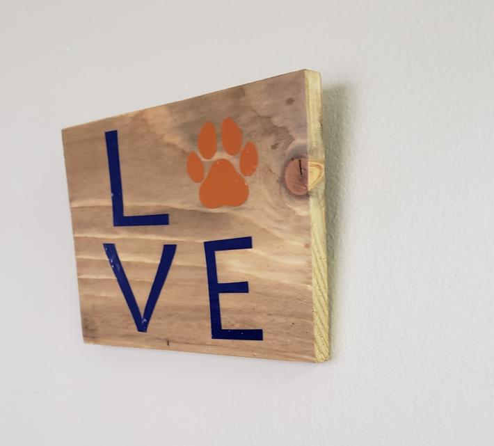 Love Pet on Rustic Wood Blue Letters
