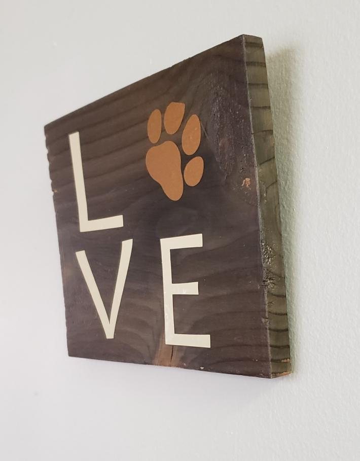 Love Pet Sign on Rustic Wood Tan Lettering