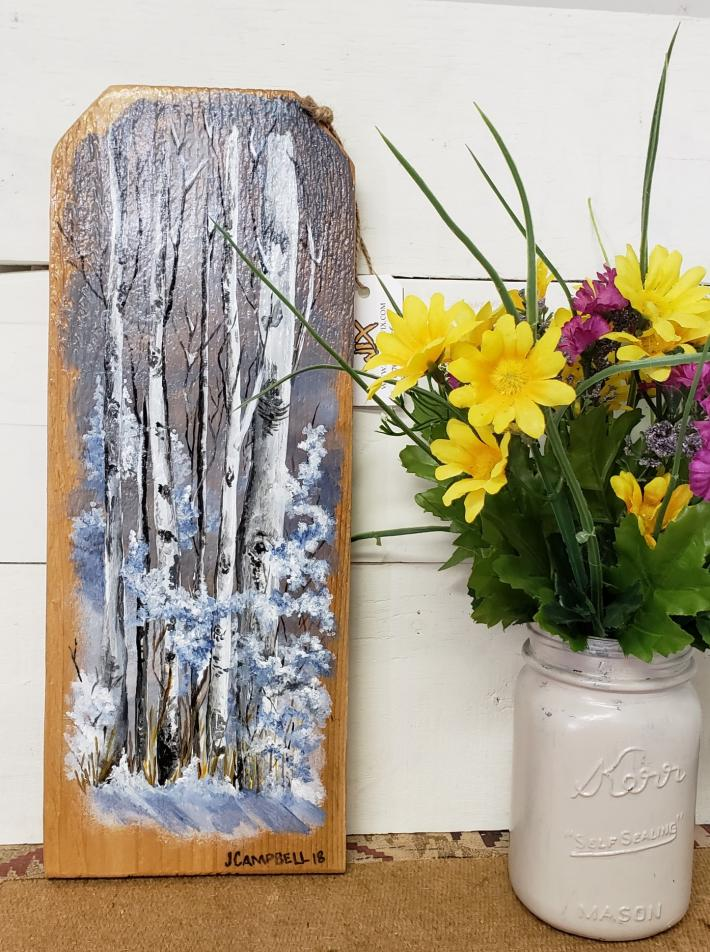 Winter Aspens on Rustic Wood